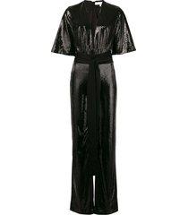 galvan galaxy sequin jumpsuit - black
