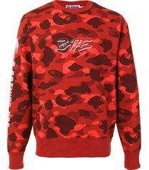 a bathing ape® camo logo print sweatshirt - red
