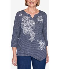 alfred dunner three quarter sleeve floral embroidery striped knit top