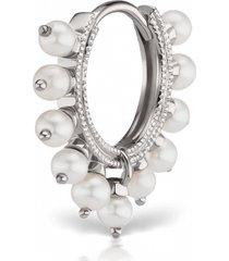 8mm pearl coronet earring - white gold