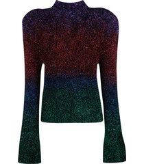 the attico glitter detail flared cuffs sweater