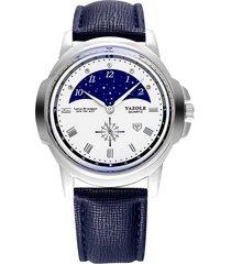reloj hombres de moda casual de dos puntas de la manera-azul