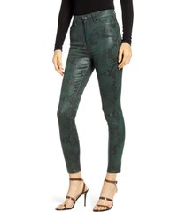 women's 7 for all mankind coated high waist ankle skinny jeans, size 29 - green