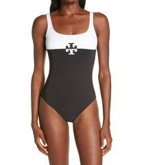 women's tory burch colorblock one-piece swimsuit, size x-large - black