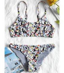 penguin print flounce bralette bikini set