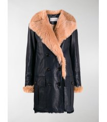 chloé fur lined double breasted coat