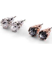 orecchini con cristalli swarovski® (set 4 pezzi) (argento) - bpc bonprix collection