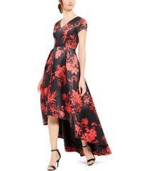calvin klein printed high-low gown
