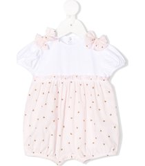 il gufo short sleeve bow detail romper - white