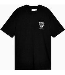 mens black tiger skull print t-shirt