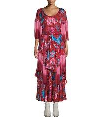 xandadu floral fringe maxi dress