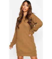 basic waffle knit sweater dress, camel