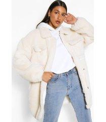 lange faux fur teddy jas, crème