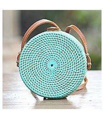 bamboo shoulder bag, 'mint lombok circle' (indonesia)