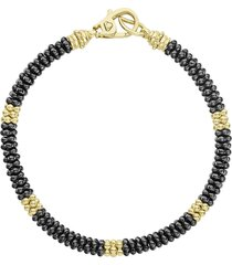 women's lagos gold & black caviar beaded station bracelet