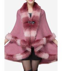 cappotti lavorati a maglia del mantello dello scialle della pelliccia del faux elegante per le donne