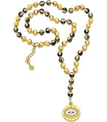 army green evil eye rosary necklace