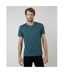 camiseta masculina básica manga curta gola portuguesa verde escuro