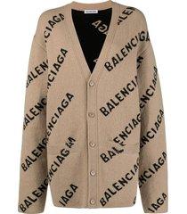 balenciaga logo-intarsia oversized cardigan
