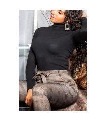 sexy hoge taille thermo broek met riem bruin