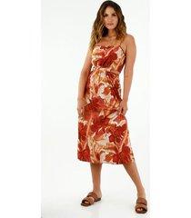 vestido midi de mujer con tiras graduables y aberturas decorativas en la cintura
