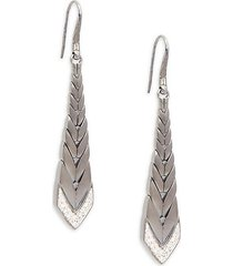 modern black sterling silver & diamond graduated drop earrings