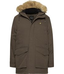 winter weight microfleece lined parka parka jacka grön lyle & scott