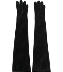 manokhi long-length suede gloves - black