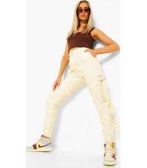 skinny fit broek met bandjes en gesp detail, ecru