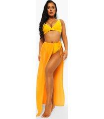 chiffon strand sarong met ceintuur, orange