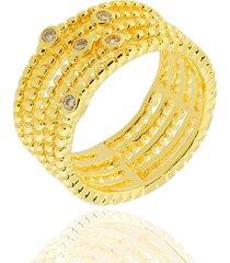 anel dona diva semi joias cinco aros dourado