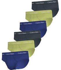 calvin klein 6-pack heren slips - blauw/groen/zwart
