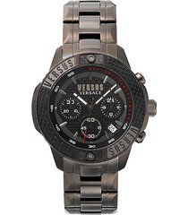 admirality ip gun metal stainless steel bracelet chronograph watch
