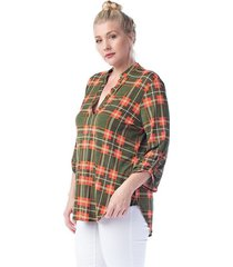 new trendy  olive plaid plus size tunic top for women 1xl - 2xl - 3xl