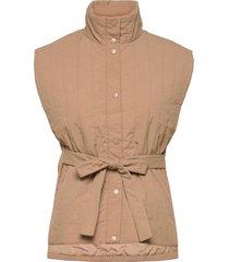 vmroxy short waistcoat py vests padded vests beige vero moda