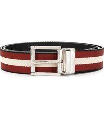 bally stripe design belt - red