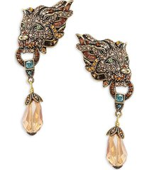 heidi daus women's goldtone & crystal lion earrings