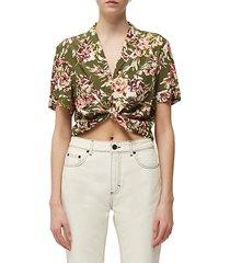 floriana tie-front camp shirt