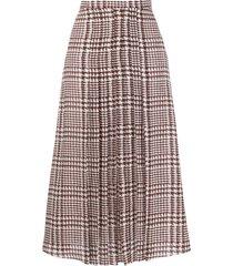 alessandra rich high-waisted houndstooth skirt - brown