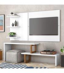 painel e rack para tv atreus branco amãªndoa casah - branco - dafiti