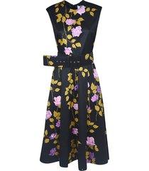 msgm belted floral flared dress