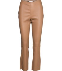 leather pants - cropped leather leggings/byxor brun coster copenhagen