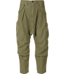 r13 harem cargo trousers - green