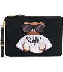 moschino teddy bear pouch - black