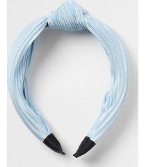 river island womens blue plisse tie knot headband
