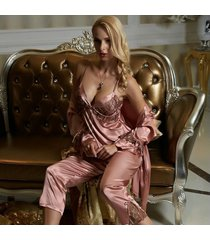 women satin silk pajamas red three-piece pajama sets lace embroider night suit