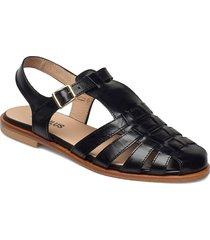 sandals - flat - closed toe - op shoes summer shoes flat sandals svart angulus