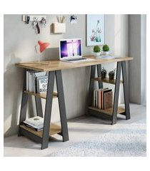 mesa escrivaninha 4 prateleiras jcm movelaria vigor noronha e grafite