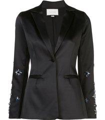 alexis loucas floral beaded blazer - black