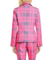 women's tanya taylor waverly pink plaid blazer, size 12 - pink